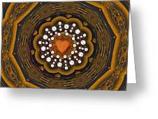 Retro Peace With Love And A Heart Of Gold Greeting Card