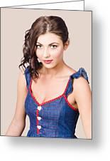 Retro Pin-up Girl In Blue Denim Dress Greeting Card
