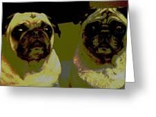 Retro Pugs Greeting Card