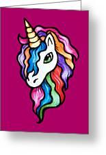Retro Rainbow Unicorn Greeting Card