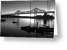 Retro San Francisco Oakland Bay Bridge Greeting Card