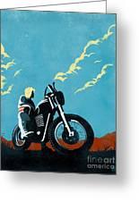 Retro Scrambler Motorbike Greeting Card