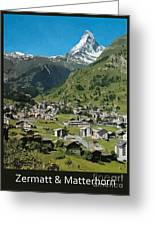 Retro Swiss Travel Zermatt And Mount Matterhorn  Greeting Card