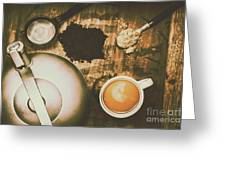 Retro Tea Background Greeting Card