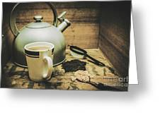 Retro Vintage Toned Tea Still Life In Crate Greeting Card
