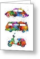 Retro Wheels Watercolor Greeting Card