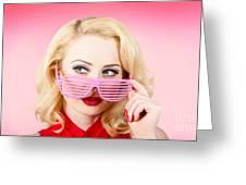 Retro Woman Model Wearing Summer Sun Glasses Greeting Card