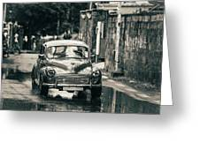 Retromobile. Morris Minor. Vintage Monochrome Greeting Card
