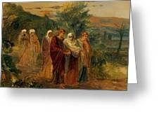 Returning From The Burial Of Christ Greeting Card