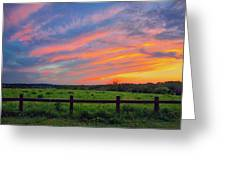 Retzer Nature Center - Summer Sunset Over Field And Fence Greeting Card