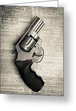 Revolver Pistol Gun Over Drawings Greeting Card
