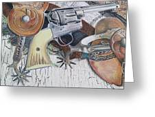 Revolver With Spurs Greeting Card