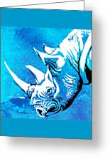 Rhino Animal Decorative Blue Poster 1 - By  Diana Van Greeting Card