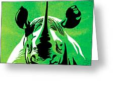 Rhino Animal Decorative Green Poster 5 - By Diana Van Greeting Card