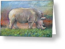 Rhino Greeting Card by Arline Wagner
