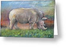 Rhino Greeting Card by Arline Wagner