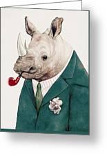 Rhino In Teal Greeting Card
