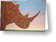 Rhino-shape Greeting Card by James W Johnson