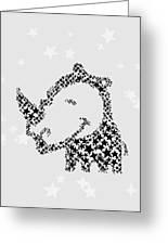 Rhinoceros Black Stars Greeting Card