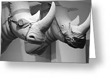 Rhinos In Black And White Greeting Card