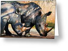 Rhinos In Dappled Shade. Greeting Card