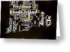 Rhode Island Typographic Map Greeting Card