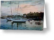 Rhodes Mandraki Harbour Greeting Card by Ylli Haruni