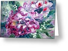 Rhododendron And Lily Of The Valley Greeting Card
