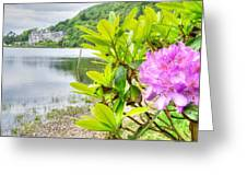 Rhododendron On Lake Kylemore, Kylemore Abbey Galway Greeting Card