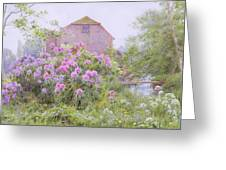 Rhododendrons By A Watermill Greeting Card by George Marks