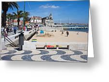 Ribeira Beach In Cascais Portugal Greeting Card