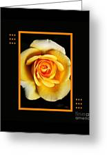 Rich And Dreamy Yellow Rose  With Design Greeting Card
