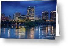 Richmond Skyline Above James River At Night 11972 Greeting Card