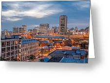 Richmond Skyline At Night Greeting Card