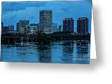 Richmond Skyline At Nightfall 11908t Greeting Card