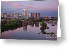Richmond Skyline Sunset Pink Greeting Card