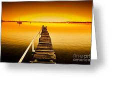 Rickety Pier Sunset Greeting Card