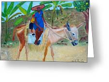 Ride To School On Donkey Back Greeting Card