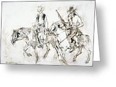 Riders In Brown Greeting Card