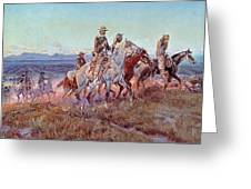 Riders Of The Open Range Greeting Card by Charles Marion Russell