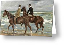 Riders On The Beach Greeting Card