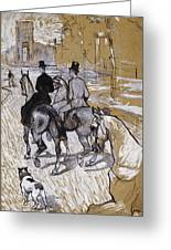 Riders On The Way To The Bois Du Bolougne Greeting Card