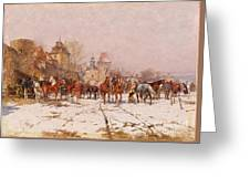 Riders Outside A Village In A Winter Landscape Greeting Card