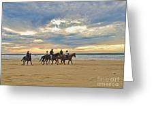 Riding At The Beach Greeting Card
