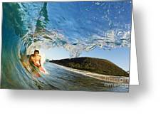 Riding Barrel At Makena Greeting Card