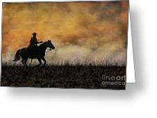 Riding The Fire Line Greeting Card