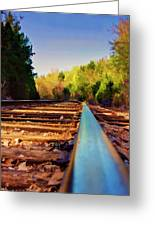 Riding The Rail Greeting Card