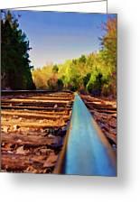 Riding The Rail Greeting Card