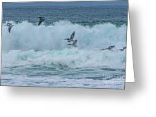 Riding The Waves At Wall Beach Greeting Card