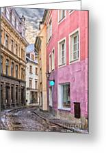 Riga Narrow Road Digital Painting Greeting Card